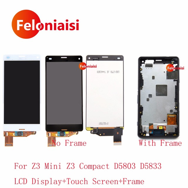 """4.6"""" For Sony Xperia Z3 Mini Z3 Compact D5803 D5833 Full Lcd Display With Touch Screen Digitizer Panel Assembly Complete+Frame"""