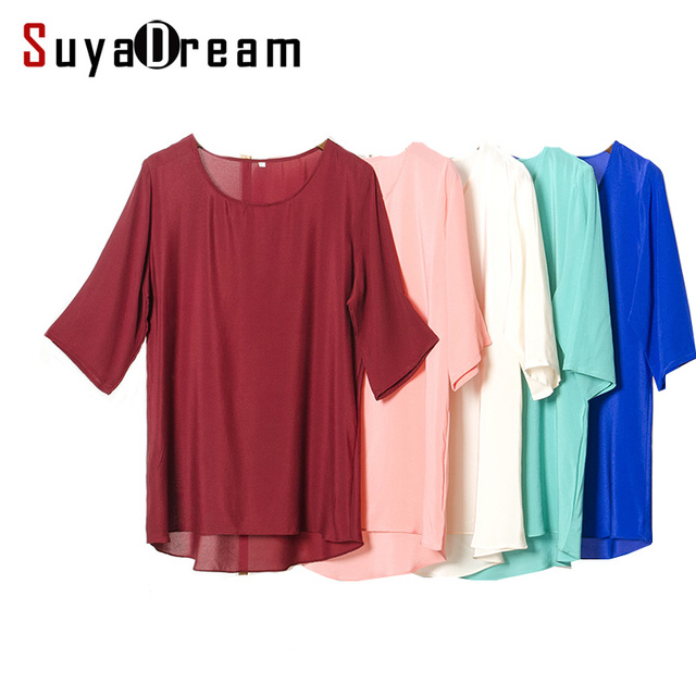 SILK Women T SHIRT half sleeve Solid chiffon T shirt 100% Natural silk casual Top Blusas femininas Spring Summer White Blue