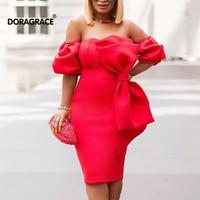Doragrace New Cheap vestidos de festa Off the Shoulder Knee Length Women Bodycon Pencil Dress Cocktail Party Dresses