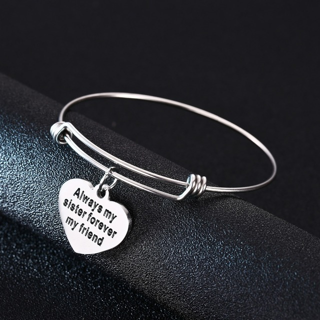 Always My Sister Forever Friend Bangle Love Heart Engrave Stainless Steel Bracelet Family Jewelry