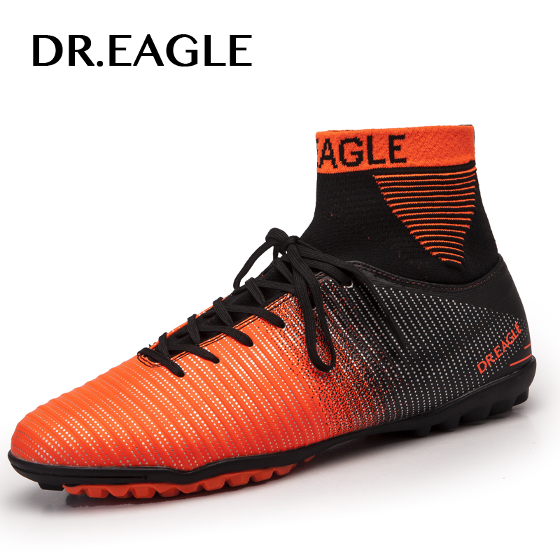 DR.EAGLE Indoor Turf/TF Crampon High Ankle Futsal Football Boots Sneakers Soccer Shoes Adult Futsal Sock Men Shoes EUR 38-45 цена