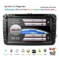 Wholesale! 2 din 8 Car DVD Multimedia player GPS Navigation Autoradio For VW/passat b6 /SEAT leon 2 Altea Toledo Skoda 8G SD BT
