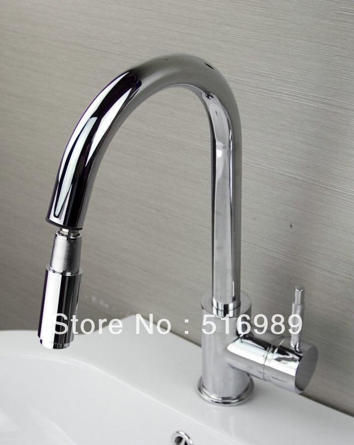 Chrome Pull out Down Spray Deck Mount Single Handle Wash Basin Sink Vessel Kitchen Torneira Cozinha