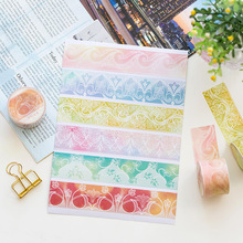 24 pcs/Lot Lace paper washi tape 3cm*5m Color flower wave paper washi tapes stickers Notebook Album School supplies FJ004 100% high quality travelers notebook fiiler paper 3 types page paper 3 size page paper for travel notebook change school supplie