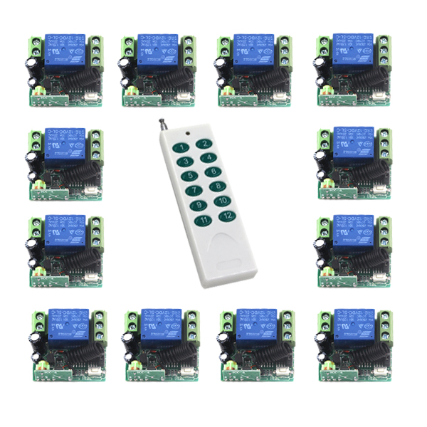 Free Shipping New DC 12V 1CH RF Wireless Remote Control Switch System,1 X Transmitter + 12 X Receiver,315/433 MHZ 4314 new ac220v 1ch 1channe rf wireless remote control switch system 1x transmitter 4x receiver 315 433 mhz