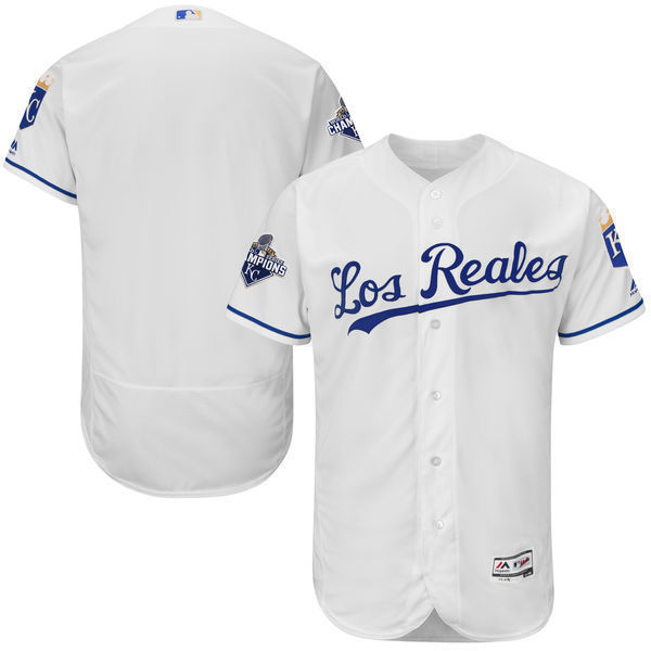 brand new 740d8 eb5f4 MLB Men's Kansas City Royals Baseball Home White 2015 World Series  Champions Commemorative Los Reales Flex Base Team Jersey-in Baseball  Jerseys from ...