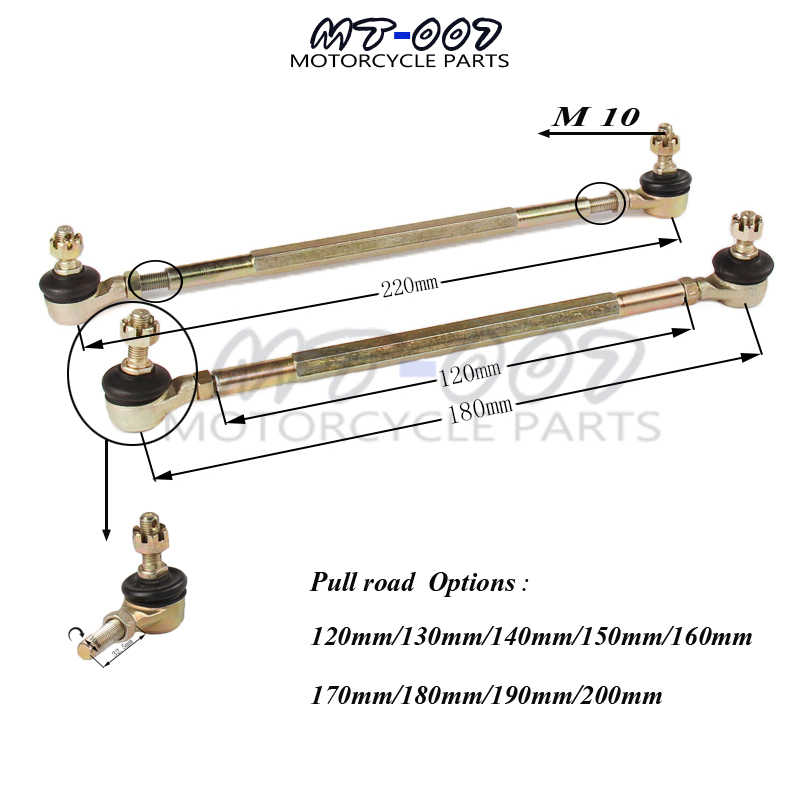 M10 120 Mm/130 Mm/140 Mm/150 Mm/160 Mm Bola Joiner Baut Tie Rod 50cc 70cc 110cc Quad Sepeda Motor Trail ATV Go Kart Dune Buggy
