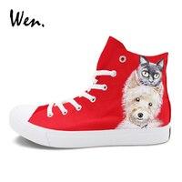 Wen Rood Schilderen Hoge Top Schoenen Custom Ontwerp Hond Kat Handgeschilderde Sneakers Unisex Sport Skate Schoenen