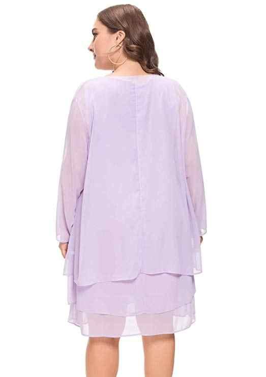 Chifón talla grande corto Madre de la novia vestidos con chaqueta traje boda Formal vestido de fiesta