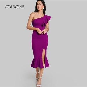 Image 5 - COLROVIE Purple Ruffle One Shoulder Slit Sexy Dress Women 2018 Autumn High Waist Sleeveless Party Dress Elegant Long Dresses
