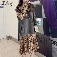 Ellacey New 2019 Spring Leopard Printed Dress Women Peter Pan Collar Ruffles Dress Set Vintage Loose 2 Pieces Dresses Vestidos