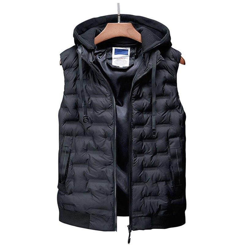 Горячая Распродажа, новый мужской жилет, Осень зима, брендовая  мужская жилетка с капюшоном, модный жилет с хлопковой подкладкой, куртка  и пальто, теплый жилет XXXL 4XLЖилеты и безрукавки