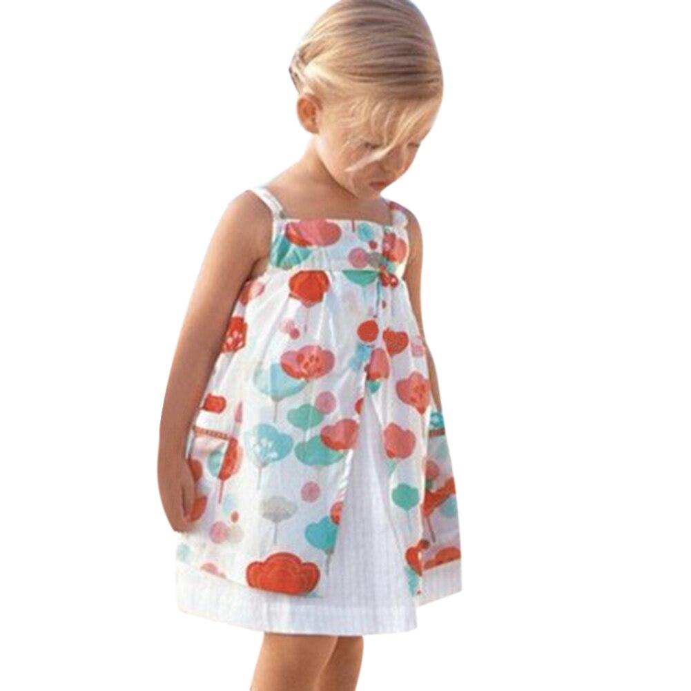 2017 Baby Girl Floral Dress Summer Kids Children Clothing Sleeveless Braces Princess Dress Floral Double