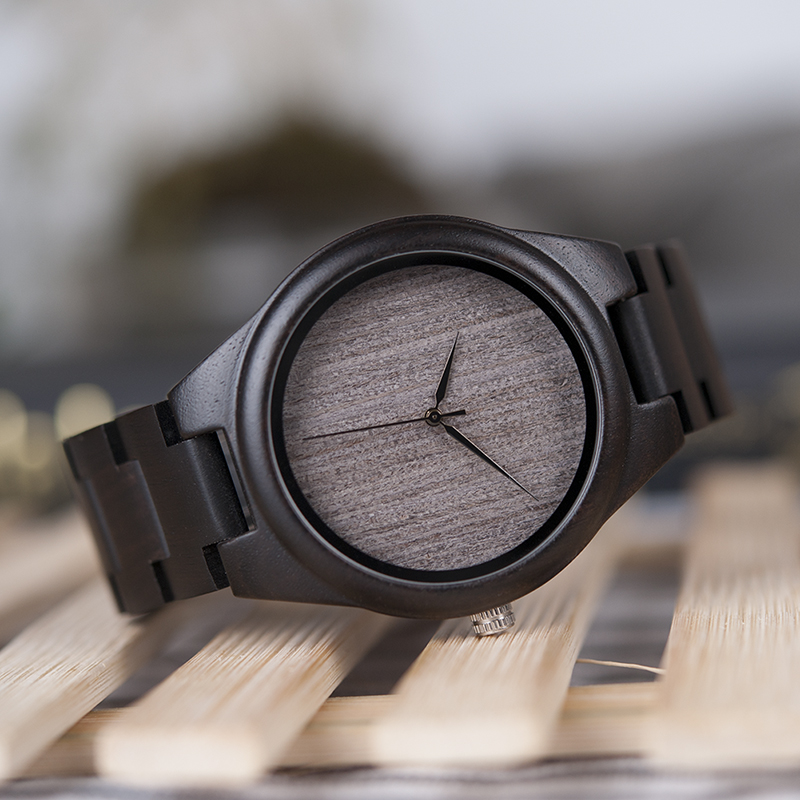 BOBO BIRD Hombre Negro Ébano Relojes de madera Reloj de pulsera de - Relojes para hombres - foto 5