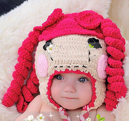 b250d5264cb Free Shipping Crochet Knitted Lalaloopsy Hat Newborn Infant Toddler Baby  Girls Knitting Hat Children s Bowknot Wig Beanie Cotton