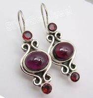 Silver Unseen RED GARNET 3 GEMSTONE Designer Lovely Dangle Earrings 3 8CM