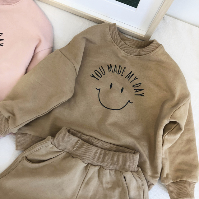 2019 Fashion Spring Baby Boys Girls Sports Wear Clothing Set Hooded Printed Letter Hooded Blouse Jumper+Shorts with Pocket