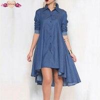 New Autumn Winter Irregular Denim Dress Woman Long Sleeve Shirt Dress Female Clothes Elegant Turn Down