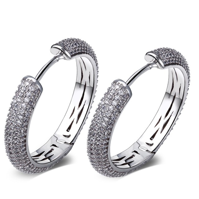 TT Fashion High quality Fashion Hoop Earrings for Women Rhodium Plated Made with AAA Cubic Zirconia Lead Free Nickel Free