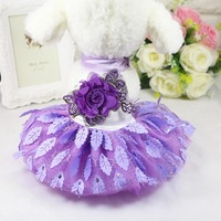 High Quality Net Yarn Pet Dog Wedding Dress Clothes Cute Puppy Princess Evening Gown Small Dog