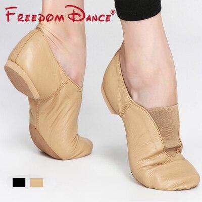 Pusat Kulit Tulen Stretch Jazz Kasut Kasut Slip-On Ballet Jazz Tarian Sneakers Untuk Lelaki Dan Wanita Black Tan Warna Unisex