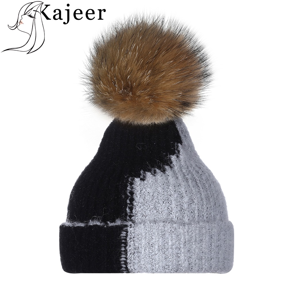 Kajeer Wool   Skullies     Beanies   Stitching Color Elegant Thick And Warm Knitted Hat Fashion Gorros Mujer Invierno