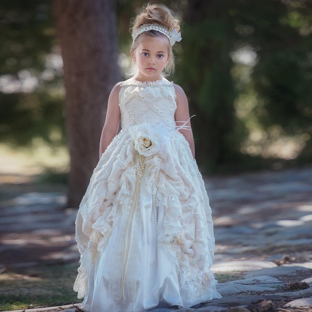 SexeMara Hand Made   Flower     Girl     Dress   New Kids Pageant Evening Gowns Gorgeous First Communion   Dresses   For   Girls   Ruffles