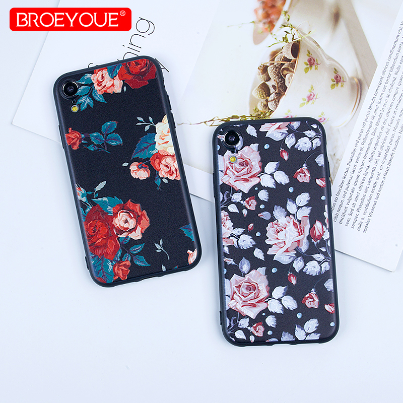 BROEYOUE Luxury Case For iPhone XS Max 3D Relief Soft TPU Silicone Flower XR X 5S SE 6 6S Plus 7 8