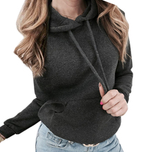 New Black Gray Hoodies Women Pocket Drawstring Detail Solid Casual Clothing Autumn Plain Long Sleeve Hooded Pullovers Sweatshirt