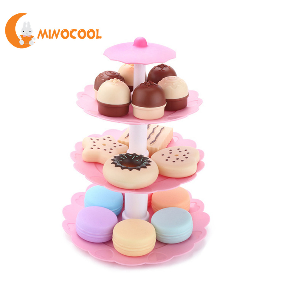 Children Playhouse Toys Simulated Kitchen Toy Mini Cake Biscuit Donut Dessert Tower Set  ...