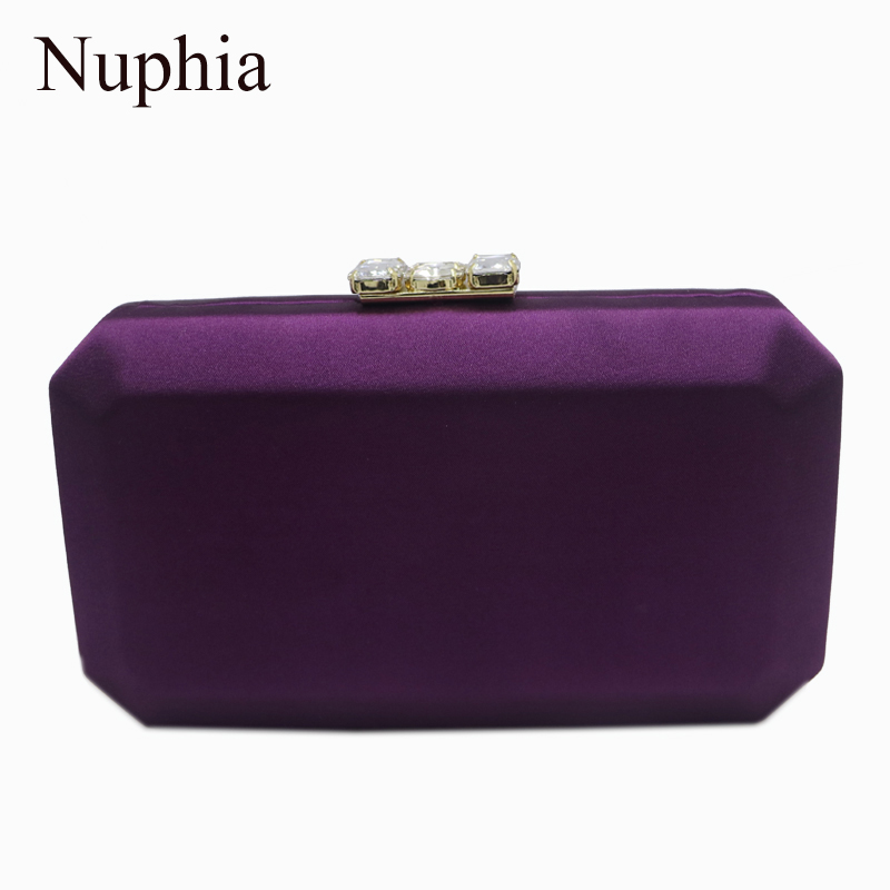 Nuphia New Silk Satin Evening Box Clutches And Evening Bags Purple/Red/Pink/Green/Black