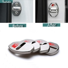 Tonlinker 4 PCS Car styling DIY NEW Stainless Steel The Door Lock With Logo Cover Case