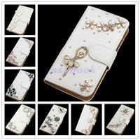 FORFor Samsung S7500 NEW Fashion Crystal Bow Bling Tower 3D Diamond Glitter Wallet Leather Cases Cover