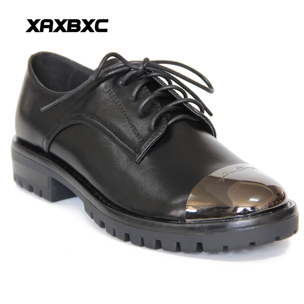 XAXBXC Retro British Brogues Black Leather Oxfords Flat Women Shoes Letter Lace Up Metal Round Toe Handmade Casual Lady Shoes xiuningyan soft leather women shoes brogues lace up flat pointed toe patent leather white oxfords women casual shoes for women