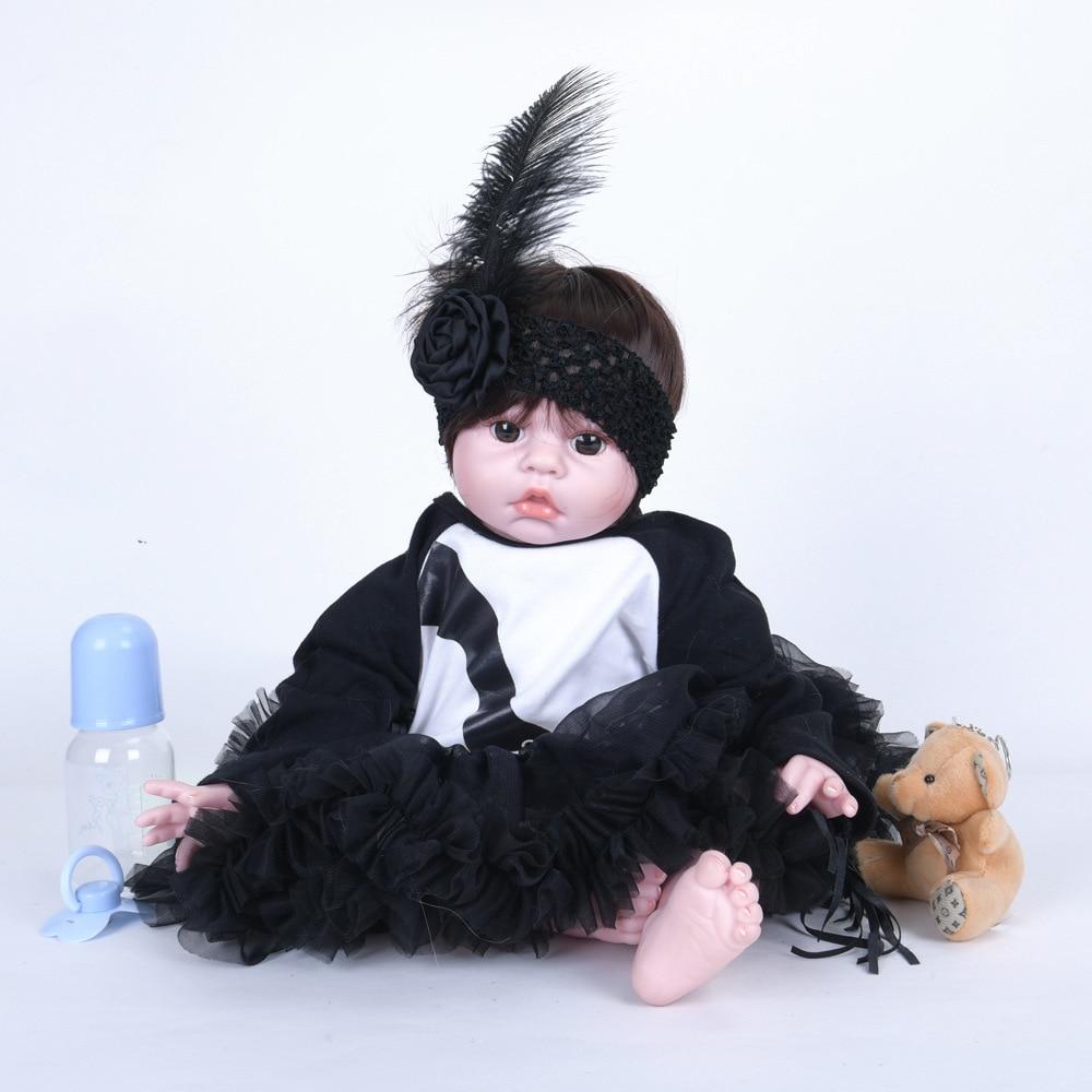 Mignon silicone coton corps reborn bébé garçon poupées 22