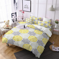 Ethnic Yellow Comforter Bedding Sets Splice Duvet Cover Set Queen Bohemia King Size Bedding Set 3D Home Textile 3pcs Bed Linen