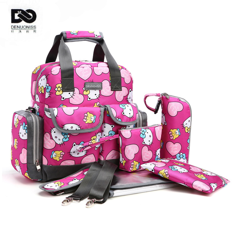 ФОТО 5PCS Suits Cute Hello Kitty Baby Diaper Bag Brand Waterproof Women Mummy Maternity Nappy Bags Tote Stroller Baby Changing Bag
