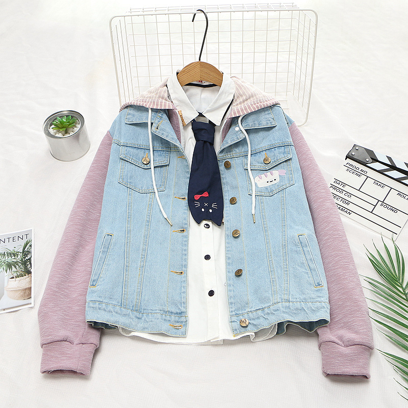 Women Harajuku Denim Jackets Japanese Style Autumn Denim Patchwork Kawaii Coat Loose Cute Embroidery Long Sleeve Hooded Jackets
