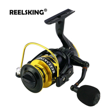 REELSKING Gear Ratio Up to 5.2:1 Spinning Fishing Reel with Exchangeable Handle Automatic folding for Casting Line сменный поводок для морской оснастки balzer exchangeable mouth line 2