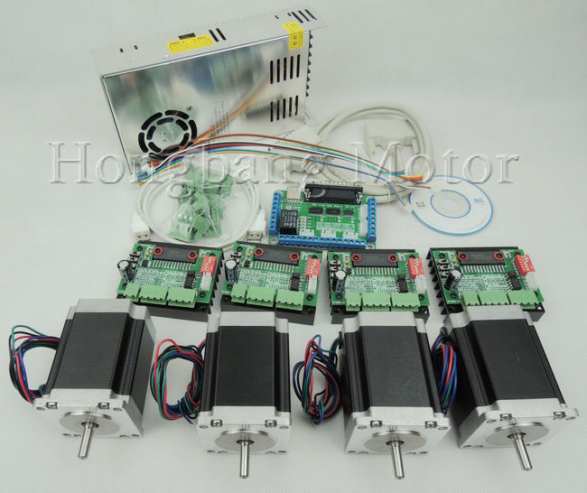 CNC 4 Axis controller kit, 4pcs 1 axis TB6560 driver +breakout board + 4pcs Nema23 270 Oz-in stepper motor + one power supply цена