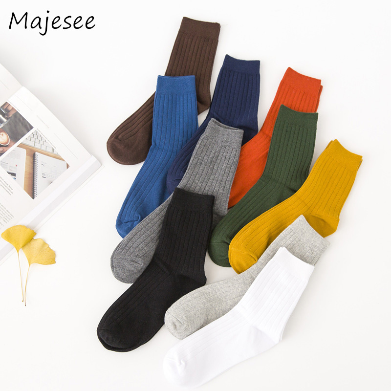 Colorful Trendy Men Cotton Socks Mens Knitted Sock Breathable Male Business Solid Color Deodorant New Fashion Japanese Style