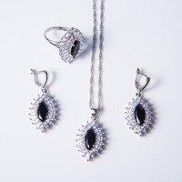Doen dower-Laatste stijlen Heldere zwarte Kristal Vrouwen Bruiloft Sieraden Set Ring/oorbellen/Ketting/Hanger 25