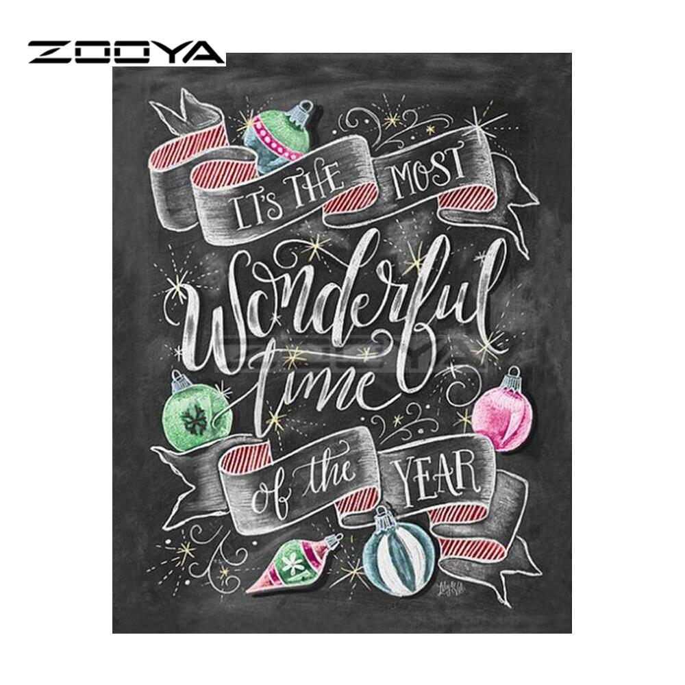 ZOOYA Full Square Drill Diamond Painting DIY Diamond Embroidery New Year Poster Cross Stitch Rhinestone Mosaic Decoration BK267