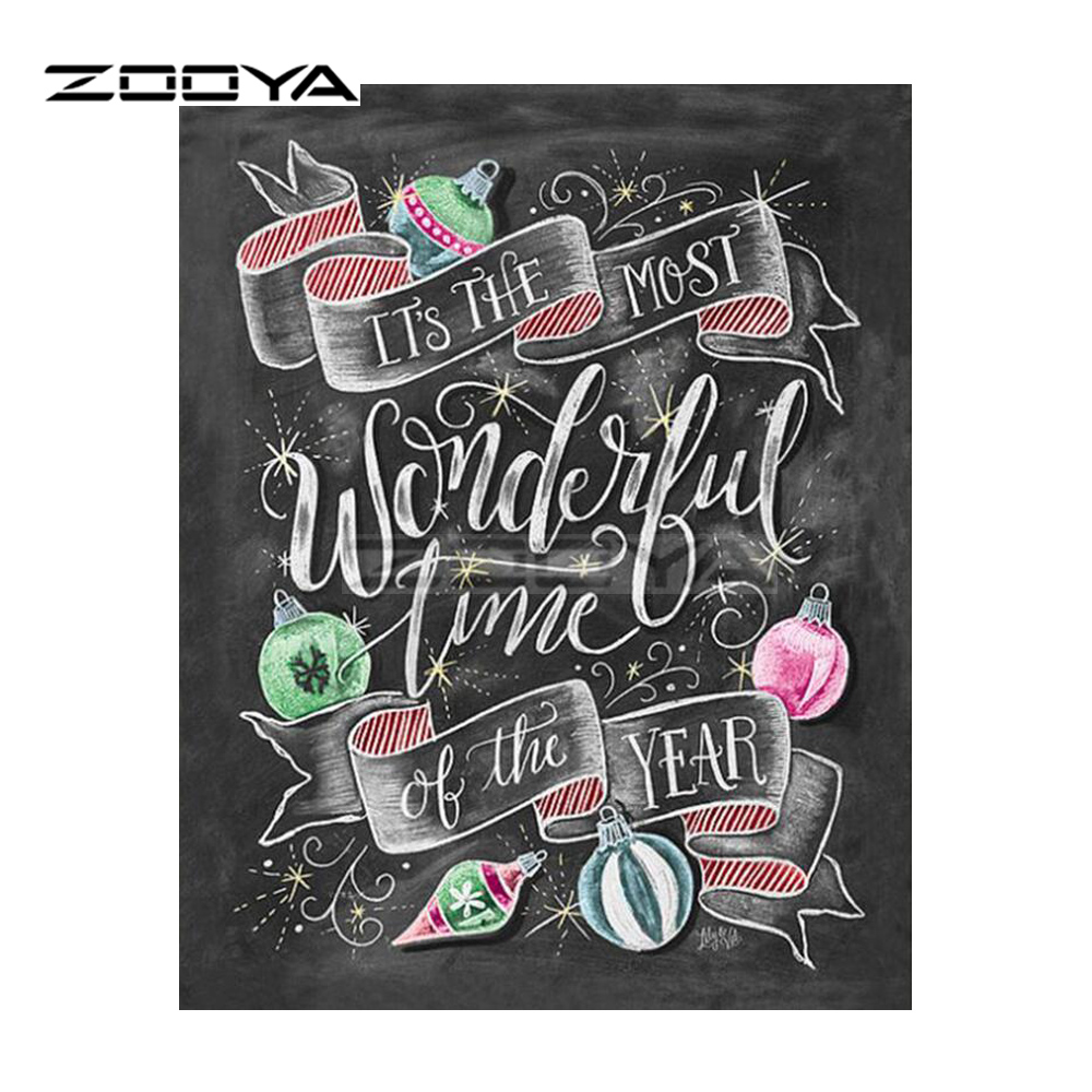 ZOOYA Full Square Drill Diamond Painting DIY Diamond Embroidery New Year Poster Cross Stitch Rhinestone Mosaic Decoration BK267