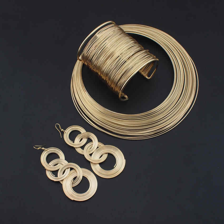 UKEN Indian Jewelry Set Fashion Metal Wire Torques Chokers Necklaces Bangle Earrings Sets For Women Dress Bridal Accessories