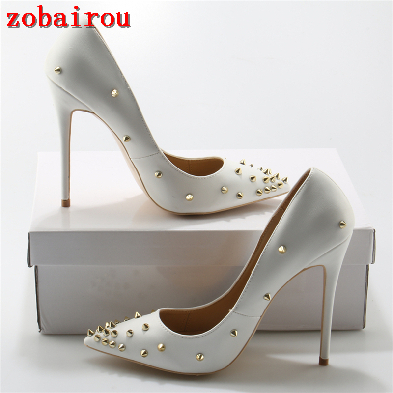 2017 Runway Wedding Shoes Rivets Embellished Stiletto Heels White PU  Leather Ladies Shoes High Heels 12CM Pumps Women-in Women s Pumps from Shoes  on ... 3cc8bc63c3da