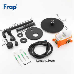 Image 5 - Frap New Arrival Bathroom Shower Faucet Brass Round Black Rainfall Shower Mixer Tap Bathtub Faucets Waterfall Bath Shower Y24024