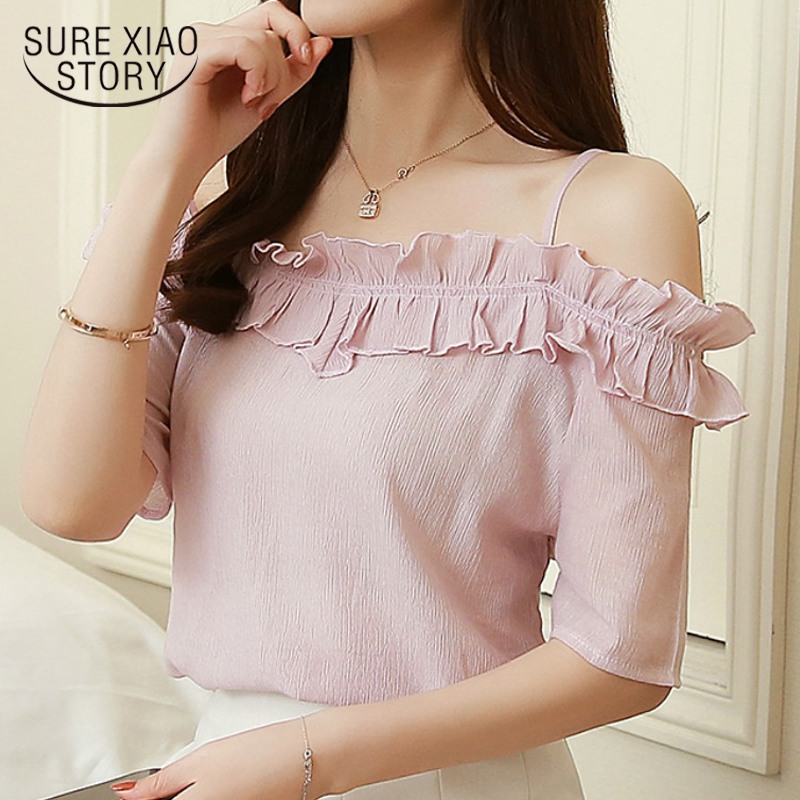 New 2018 Summer Women Blouse Shirt Clothing Short Sleeve Fashion Chiffon Sweet Sexy Slash Neck Women Tops Blusas D699 30