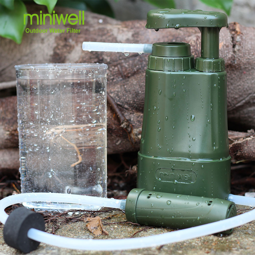 Outdoor survival personal water filter purifier emergency kits outdoor camping hiking survival water filtration purifier drinking pip straw army green