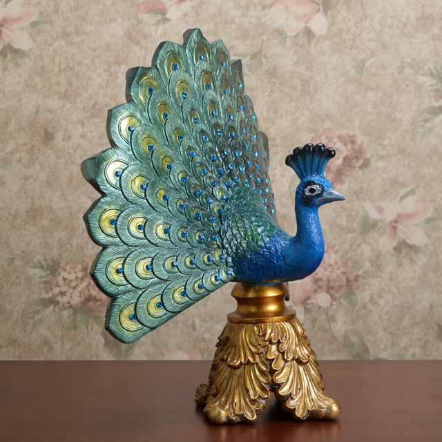 Retro Home Decor Resin Peacock Blue Gold Color Fashion Decoration Wedding Mascot Gifts Hotel Statue Europe Style Sculpture Craft